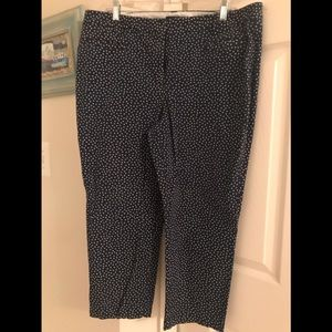 Lands' End navy blue pants with white dots
